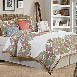 Nanshing Saunders Queen Comforter Set in White/Gold
