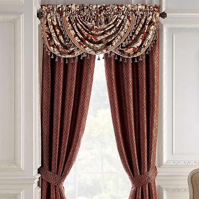 Alternate image 1 for Croscill® Arden Waterfall Swag Window Valance in Red