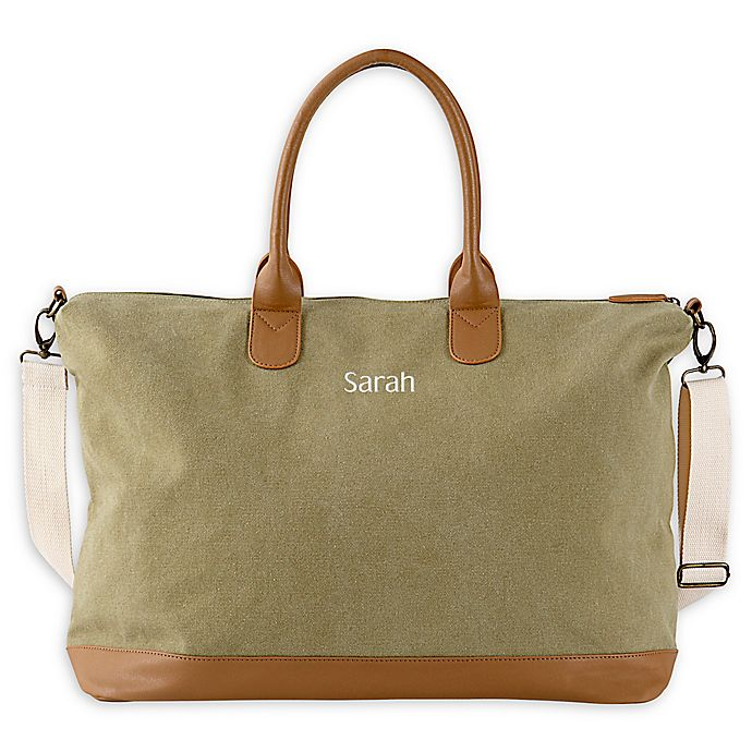 Alternate image 1 for Cathy's Concepts Washed Canvas Weekender Tote in Green
