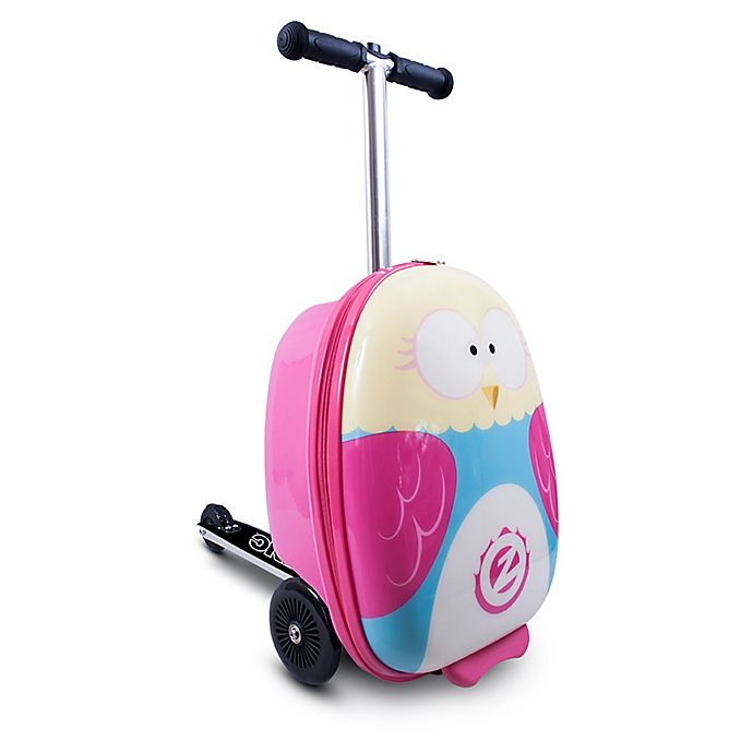 Alternate image 1 for ZincFlyte 18-Inch Olivia the Owl Luggage Scooter in Pink