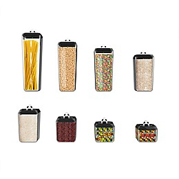 Classic Cuisine Polystyrene 8-Piece Canister Set in Clear/Black