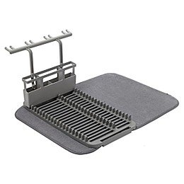 Umbra® U Dry Dish Rack with Stemware Holder and Mat in Charcoal