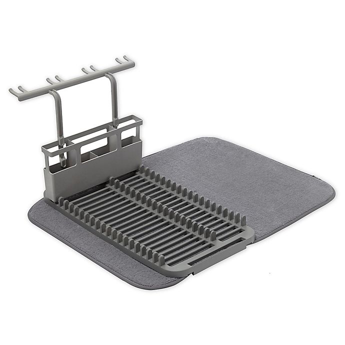 Alternate image 1 for Umbra® U Dry Dish Rack with Stemware Holder and Mat in Charcoal