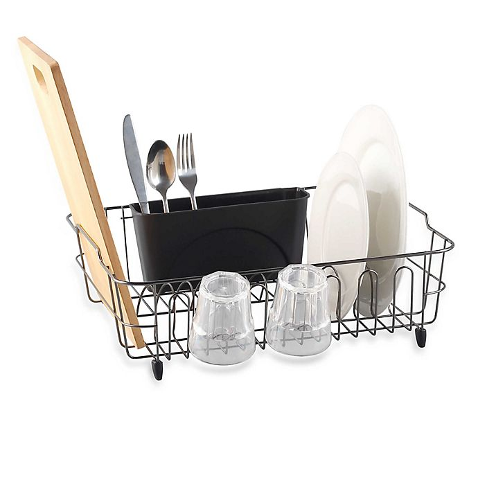 Alternate image 1 for ORG Metal Dish Rack with Scallop Cup Holder in Black/Chrome