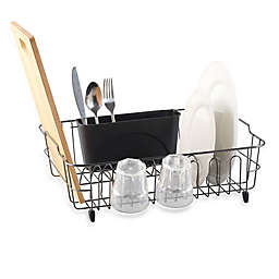 .ORG Metal Dish Rack with Scallop Cup Holder in Black/Chrome