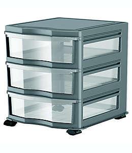 Organizador con 3 cajones color gris