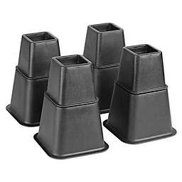 Simplify 8 Piece Adjustable Bed Risers Set  in Black