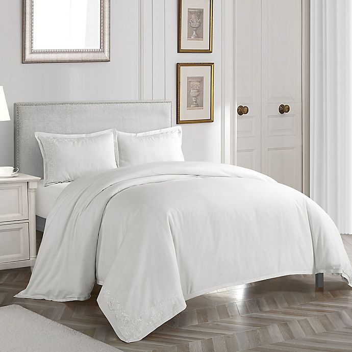 Alternate image 1 for Nanshing Somerset Queen Duvet Cover Set in White