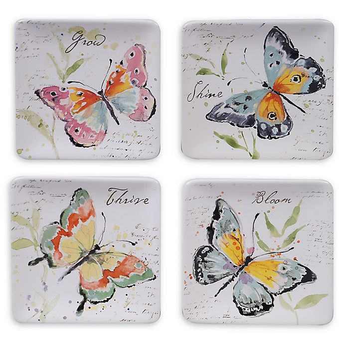 Alternate image 1 for Certified International Spring Meadows Square Canape Plates (Set of 4)