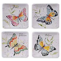 Certified International Spring Meadows Square Canape Plates (Set of 4)