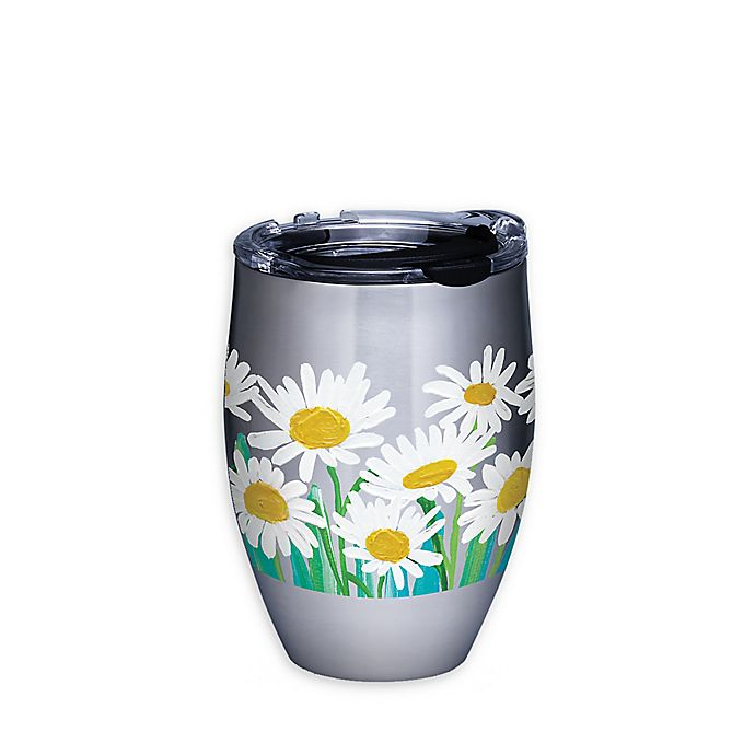 Tervis White Daisies 12 Oz Stemless Wine Glass With Lid Bed Bath Beyond