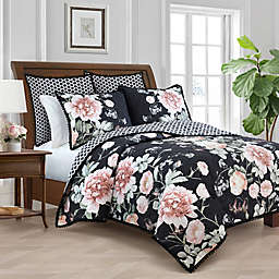 New York Botanical Garden® Rosalie Reversible Twin Quilt in Black