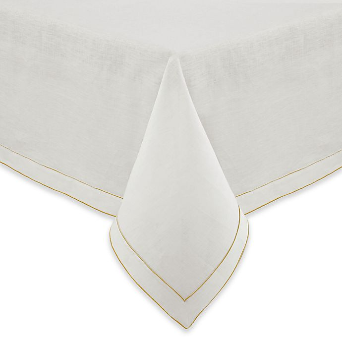Alternate image 1 for Olivia & Oliver Madison 60-Inch x 104-Inch Oblong Tablecloth in White/Golden