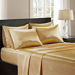 Madison Park Essentials Wrinkle Free Satin Standard Pillowcases in Gold (Set of 2)