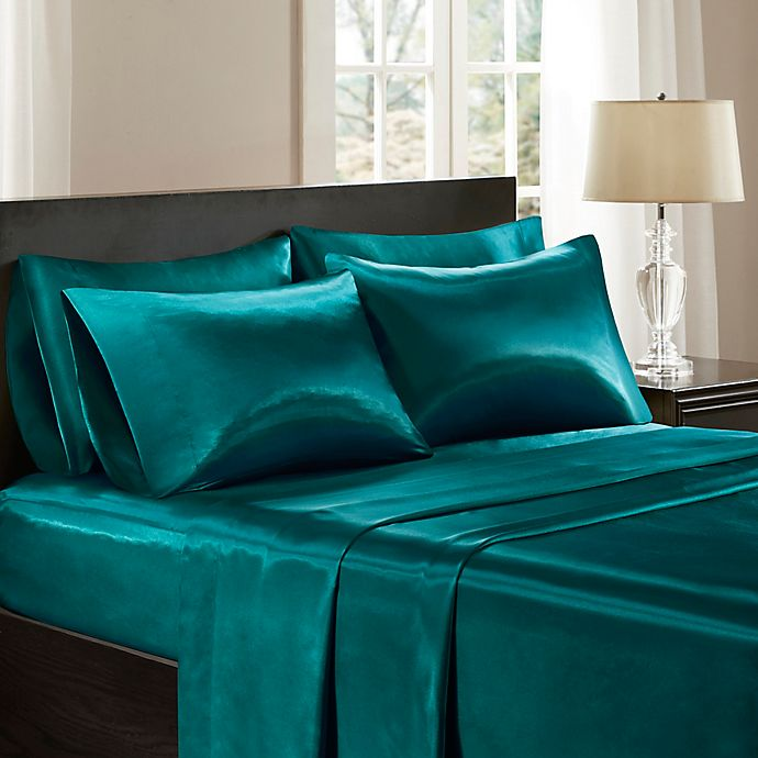 Alternate image 1 for Madison Park Essentials Wrinkle Free Satin Standard Pillowcases in Teal (Set of 2)