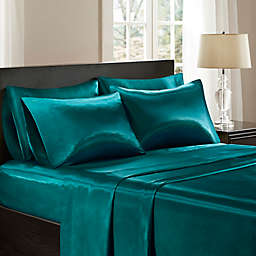 Madison Park Essentials Wrinkle Free Satin Standard Pillowcases in Teal (Set of 2)