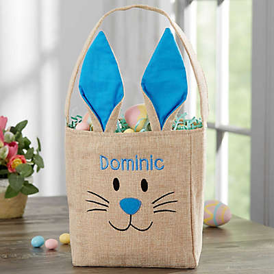 Bunny Face Personalized Burlap Easter Treat Bag in Blue