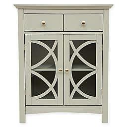 Double Door Floor Cabinet with Drawers in Grey