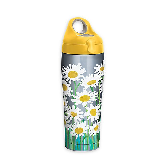 Alternate image 1 for Tervis® Painted White Daisies 24 oz. Stainless Steel Water Bottle with Lid