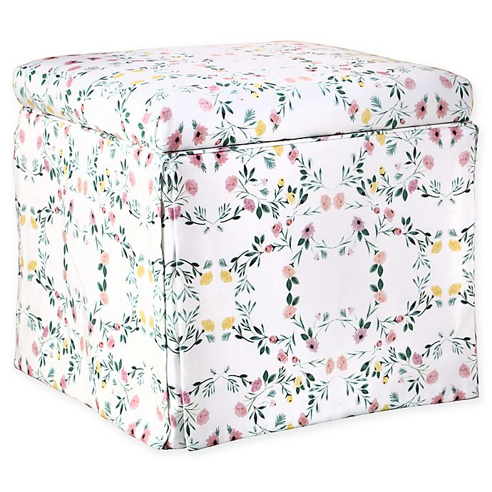Incredible Skyline Furniture Nottingham Storage Ottoman In White Floral Gmtry Best Dining Table And Chair Ideas Images Gmtryco