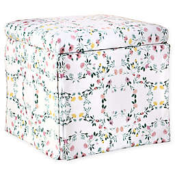 Skyline Furniture Nottingham Storage Ottoman in White Floral