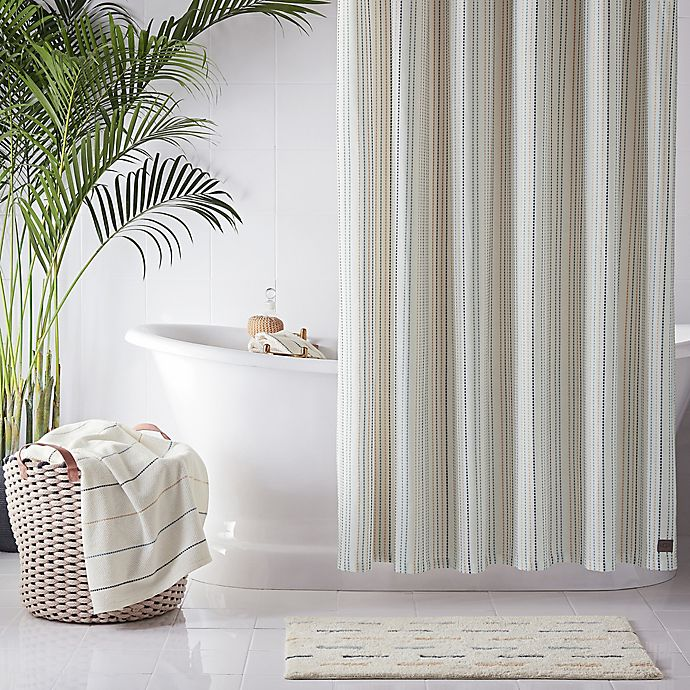 Alternate image 1 for UGG® Skye Striped Shower Curtain in Ivory