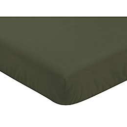 Sweet Jojo Designs Woodland Camo Solid Fitted Crib Sheet in Hunter Green