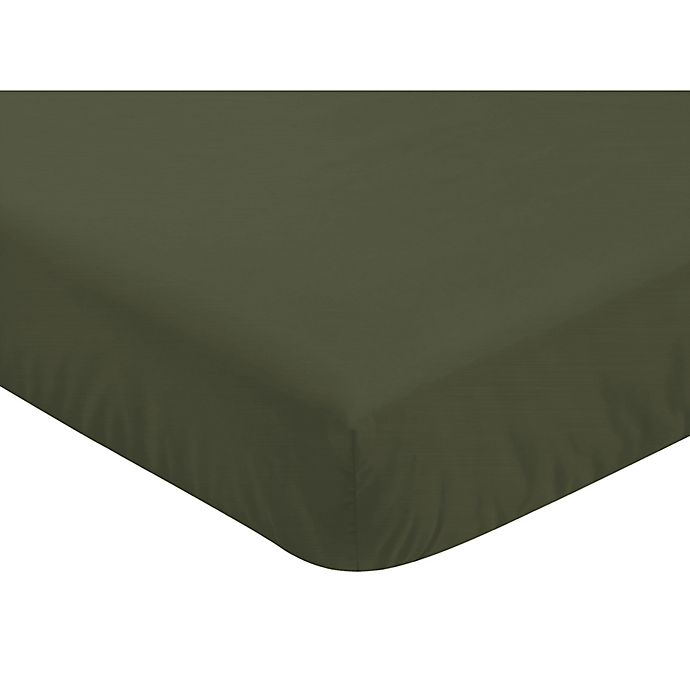 Alternate image 1 for Sweet Jojo Designs Woodland Camo Solid Fitted Crib Sheet in Hunter Green