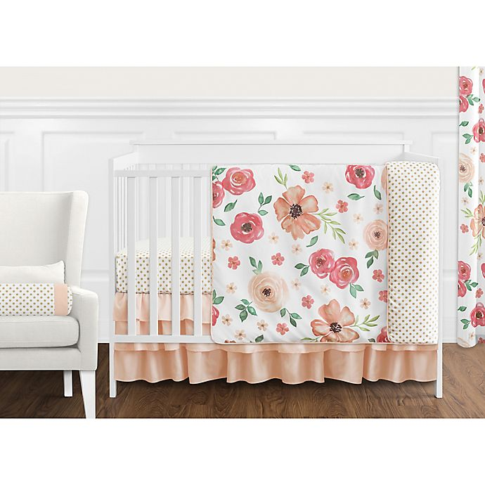 Alternate image 1 for Sweet Jojo Designs® Watercolor Floral Crib Bedding Collection in Peach/Green