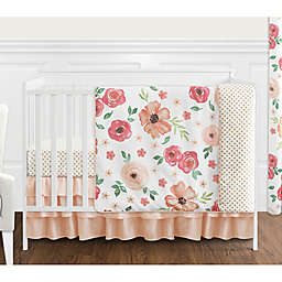 Sweet Jojo Designs® Watercolor Floral 4-Piece Crib Bedding Set in Peach/Green