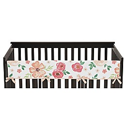 Sweet Jojo Designs® Watercolor Floral Long Crib Rail Guard Cover