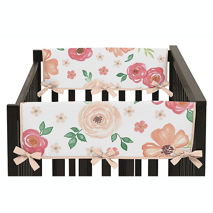 Alternate image 1 for Sweet Jojo Designs® Watercolor Floral Short Crib Rail Guard Covers (Set of 2)
