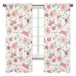 Sweet Jojo Designs® Watercolor Floral 84-Inch Window Curtain Panel Pair