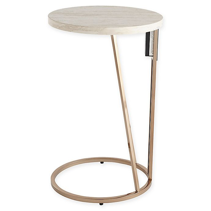 Alternate image 1 for Southern Enterprises© Mino Side Table w/ USB Ports in Champagne
