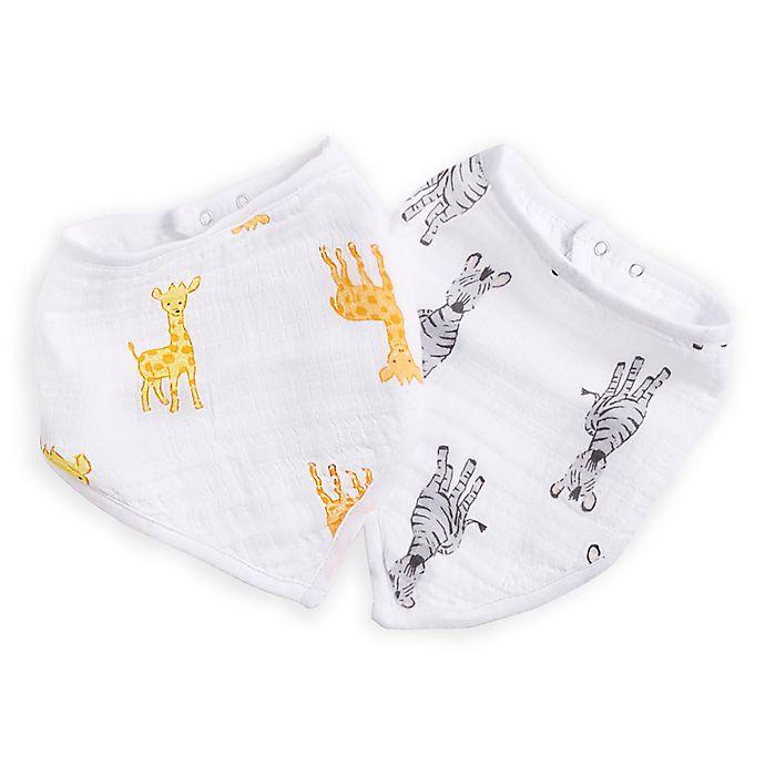 Alternate image 1 for aden® by aden + anais® 2-Pack Giraffe/Zebra Bandana Bibs in Orange