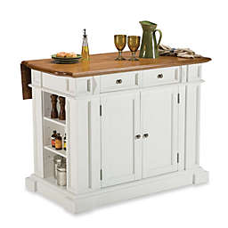 Home Styles Kitchen Island with Distressed Oak Top in White
