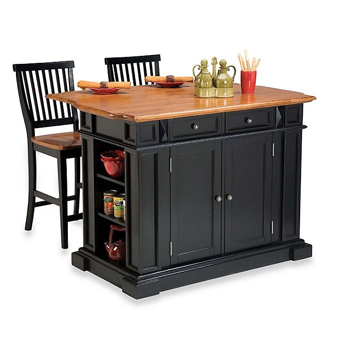 Alternate image 1 for Home Styles Distressed Oak Top Kitchen Island and Two Barstools