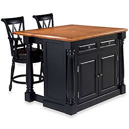 Home Styles Monarch 3-Piece Kitchen Island with Oak Top and Two Stools