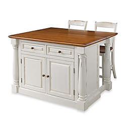 Home Styles Monarch 3-Piece Kitchen Island with Stools in Antiqued White