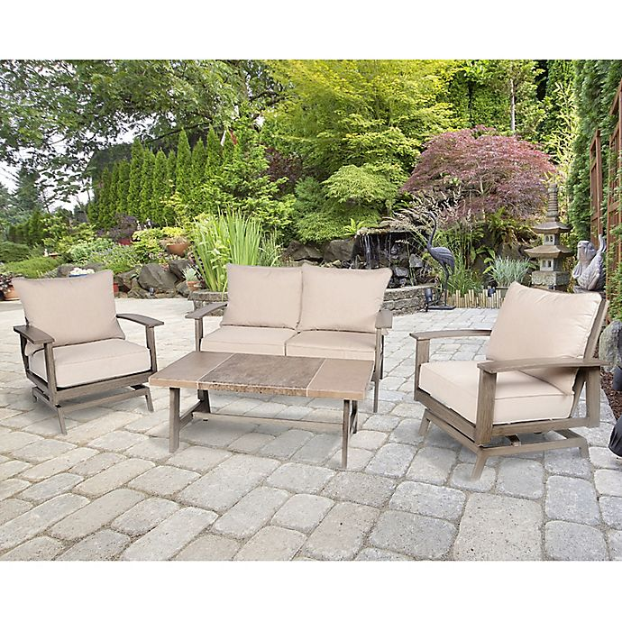 Faux Wood Aluminum Patio Furniture Collection In Brown