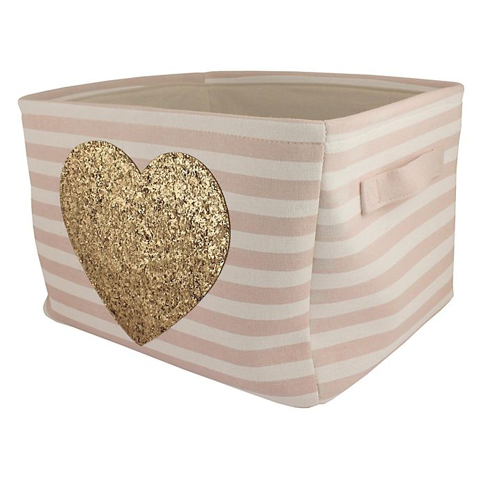 Alternate image 1 for Bee & Coco Gold Heart Laundry Basket in Pink Stripes