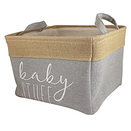 "Bee & Coco ""Baby Stuff"" Storage Bin in Grey Linen and Burlap"