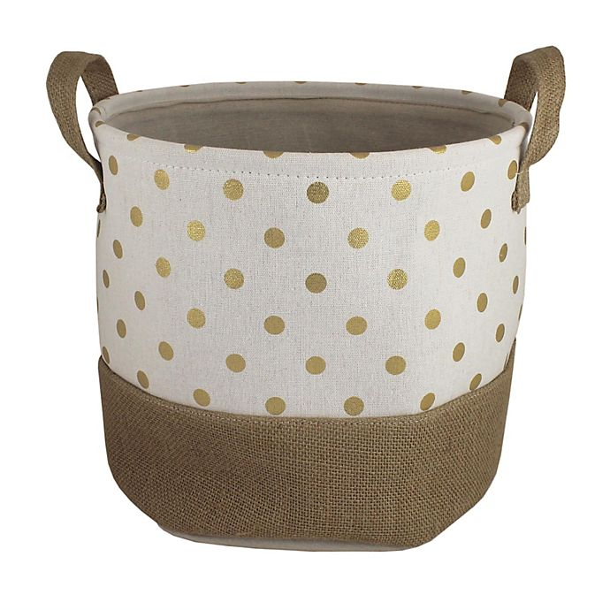 Alternate image 1 for Bee & Coco Round Storage Bin in Ivory with Gold Metallic Polka Dots