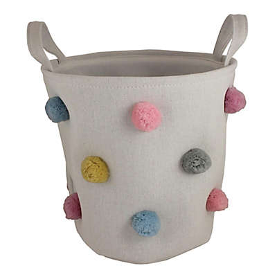 Bee & Coco Round Storage Bin in Ivory with Multicolor Pom Poms
