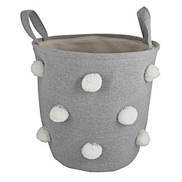 Bee & Coco Round Storage Bin in Grey with White Pom Poms