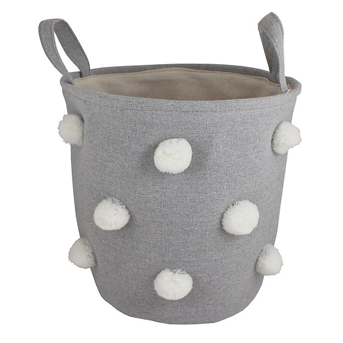 Alternate image 1 for Bee & Coco Round Storage Bin in Grey with White Pom Poms