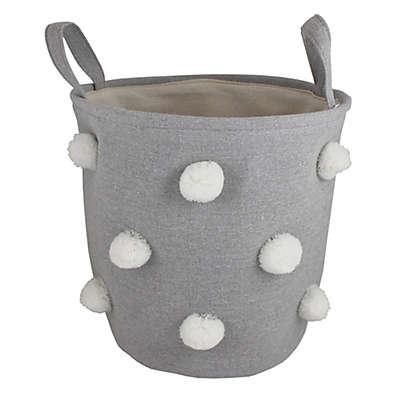 Bee & Coco Round Storage Bin in Grey with White Pom Poms