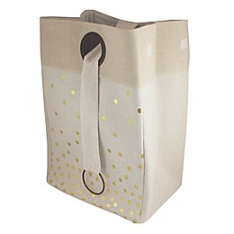 Bee & Coco Round Collapsible Hamper in Ivory with Gold Metallic Polka Dots