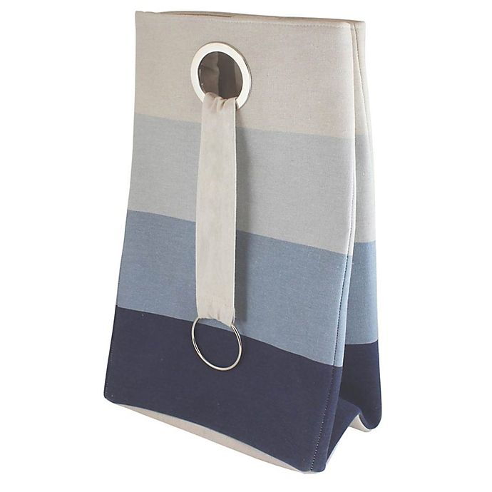 Alternate image 1 for Bee & Coco Collapsible Hamper in Blue Ombre Stripe
