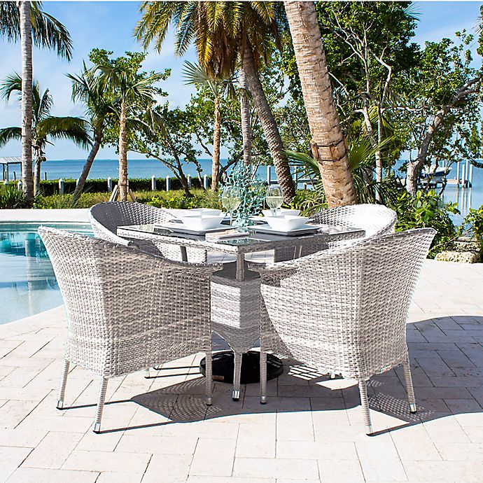 Alternate image 1 for Athens 5-Piece Patio Armchair Dining Set in White Wash with Canvas Cushions